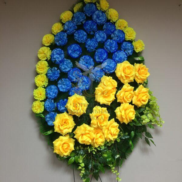 Венок Ветка Акации, желтые розы, синие гвоздики
