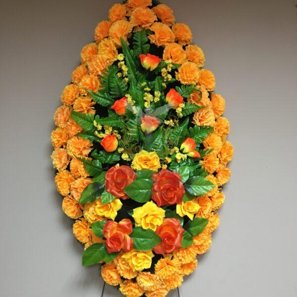 Венок Вечность, желтые гвоздики и оранжевые розы