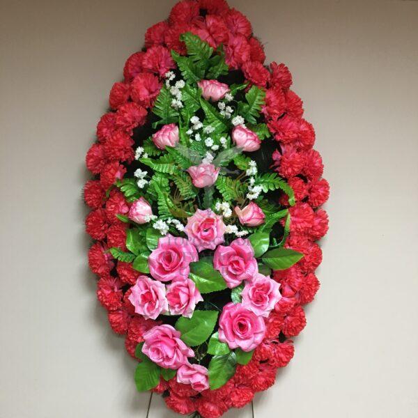 Венок Вечность, розовые розы, красные гвоздики